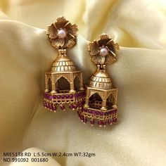 Buy this beautiful gold plated earrings/jhummki with an year warranty Gold Jhumka Earrings, Indian Jewelry Earrings, Indian Wedding Jewelry, Gold Earrings Designs, India Jewelry, Gold Jewellery Design, Gold Jewelry, Jhumka Designs, Craft Jewelry