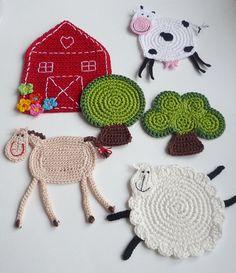 Crochet Coasters  The Farm 6 pc by MonikaDesign on Etsy, $54.00