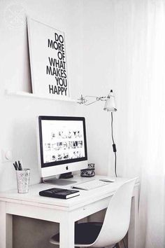 Browse pictures of home office design. Here are our favorite home office ideas that let you work from home. Home Office Space, Home Office Design, Home Office Decor, Home Decor, Office Ideas, Small Office, Office Spaces, White Office, Desk Space
