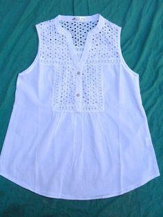 camisa blusa sin mangas mujer blanca nueva talle l
