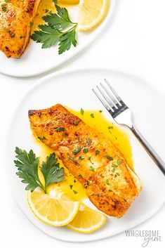This pan seared halibut recipe with lemon butter sauce takes just 20 minutes. which you'd never guess with how fancy pan fried halibut looks. I'll show you how to pan sear halibut, plus how to make the perfect sauce for halibut. Lemon Caper Sauce, Lemon Butter Sauce, Lemon Recipes, Fish Recipes, Pan Seared Halibut Recipes, Crab Legs Recipe, Whole Roasted Cauliflower, Usda Food, High Fat Foods