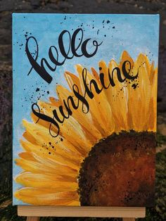 Hello Sunshine Sunflower Hand Painted on mini Canvas with Sunflower Canvas Paintings, Simple Canvas Paintings, Small Canvas Art, Mini Canvas Art, Cute Paintings, Canvas Painting Tutorials, Acrylic Painting Canvas, Art Sur Toile, Painting Inspiration