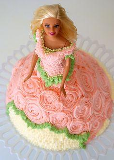 Barbie cake dress decorations idea.  ruffles, roses and beads