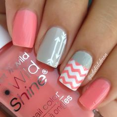 Coral Chevron and Grey Nails