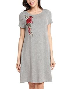 Zeagoo Women Summer Casual Loose Rose Embroidered Short Sleeve Tunic Shirt  Dress     Click image for more details. 2d48b1c5f18b