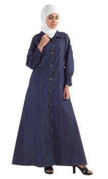e8529b7dff Button Down Denim Abaya Muslim Dress