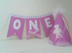 Sweet birthday bunting for 1st birthday. Highchair banner and party hat with elastic Handmade from board, glitter and ribbon From a smoke and pet free home Please take a look at my other items Items are posted Monday to Friday :) Thank you ��   eBay!