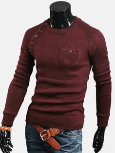 Crewneck Long Sleeves Pockets Asymmetrical Cotton Blend Men's Pullover Knitwear