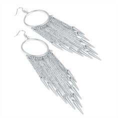 SILVER COLOUR EARINGS WITH LONG SHARP TASSLE MOTIF - SILVER COLOUR EARINGS WITH LONG SHARP TASSLE MOTIF  Great statement earrings. These silver colour hoops have lots of thin tassels attached with mini spikes at the end, fall beautifully.  Drop 15cm  From Lone Cat Boutique.  Follow us on Facebook, Instagram and twitter for style tips, new arrivals and promotions!