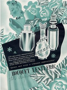Illustration by MAC, 1941, Bouquet Lenthéric. parfume.