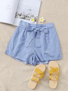 ((Affiliate Link)) Description Style:	Preppy Color:	Blue Pattern Type:	Gingham Details:	Belted Type:	Wide Leg Season:	Summer Composition:	100% Polyester Material:	Polyester Fabric:	Non-stretch Sheer:	No Fit Type:	Loose Waist Type:	Mid Waist Closure Type:	Elastic Waist Belt:	Yes