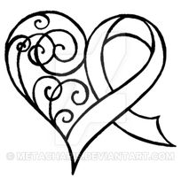 Cancer Ribbon Heart with Swirls Tattoo by Metacharis