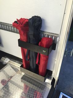 Custome interior of our Ducati trailer  Director chair storage holder.