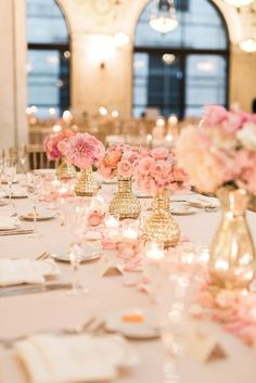 Blush and gold wedding table decor: http://www.stylemepretty.com/2017/05/16/blush-gold-classic-chicago-cultural-center-wedding/ Photography: Two Birds - http://twobirdsphoto.com/