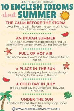 Summer Vocabulary - English Collocations with Harry 👴 English Idioms, English Vocabulary Words, English Phrases, Learn English Words, English Lessons, English Language Learning, Teaching English, English Collocations, Idioms And Phrases