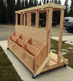 20 Ways To Trick Out Your Garage or Workshop - Storage Cart - Ideas of Storage Cart - easy wood cart scrap Lumber Storage Rack, Plywood Storage, Lumber Rack, Storage Cart, Tool Storage, Garage Storage, Garage Organization, Diy Storage, Storage Ideas