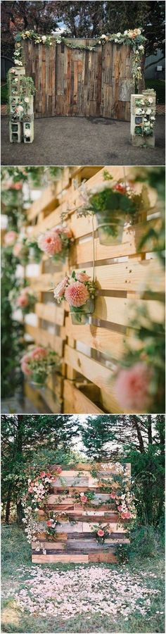 country wedding backdrops with wooden pallets