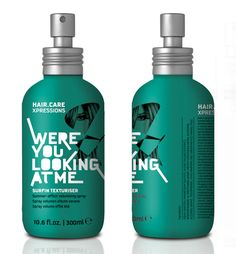 HAIR.CARE/XPRESSIONS packaging: 'Were you looking at me'. Reminiscent of Paul Rand's type treatment … and, naturally, I love the color.