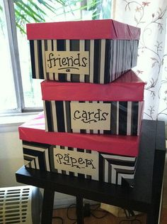 Cover shoe boxes with wrapping paper for a free way to keep organized! Think I want to do this with my shoe boxes to organize my shoes with pics of the shoes on the outside.
