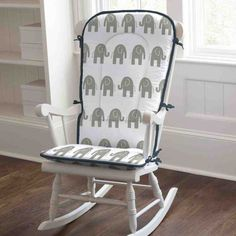 Rocking chair pads made by Carousel Designs in the USA. These rocking chair pads are made for full size rocking chairs and can be a great accent in any home. Each rocking chair pad includes back and bottom cushions. White Wooden Rocking Chair, Outdoor Rocking Chair Cushions, Seat Cushions, Swivel Chair, Glider Chair, Sunbrella Fabric, Rocking Chair Covers, Rocking Chair Nursery, Kid Outfits