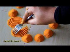 Simple diya rangoli for diwali using fork l diwali special rangoli desig. Very Easy Rangoli Designs, Rangoli Simple, Indian Rangoli Designs, Rangoli Designs Latest, Rangoli Designs Flower, Rangoli Border Designs, Rangoli Patterns, Colorful Rangoli Designs, Rangoli Ideas