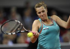 Russia's Anastasia Pavlyuchenkova returns the ball to Germany's Julia Goerger during their match at the WTA Porsche Tennis Grand Prix in Stuttgart, southwestern Germany, on April 24, 2012.