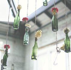 Free people glass bottle flower decor