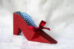 Paper Shoe Favor, Wizard of Oz Red Glitter and Blue Gingham High Heel Paper Shoe Favor Box Wicked Musical, Fairy Shoes, Paper Shoes, Ruby Slippers, Specialty Paper, Colorful Candy, Blue Gingham, Red Glitter, Wizard Of Oz