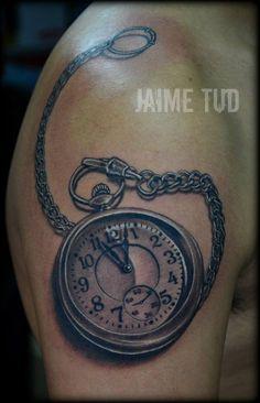 Realistic pocket watch by Jaime Tud. Jaime Tud tattoos, Philippines.