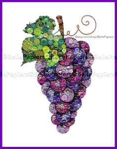 Button Art Grapes | Grapevine Decoration | Grape Vine Art | Button Canvas Purple Grapes Each Button Art Grape Bunch is 11x14 and is mounted to a