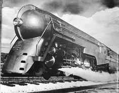 1938: The new streamlined 20th Century Ltd. locomotive, designed by Henry Dreyfuss, which runs between New York and Chicago