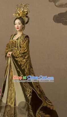 Chinese Ancient Tang Dynasty Empress Hanfu Dress Embroidered Costumes and Headpiece Complete Set for Women Costume Shop, Costume Dress, Korean Outfits, Korean Clothes, Fantasy Gowns, Hair Decorations, Traditional Fashion, International Fashion, Hanfu