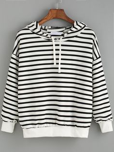 Hooded Striped Black and White Sweatshirt 12.00