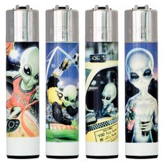 4 Assorted Clipper Lighters - Flint Large - Meiklejohn Graphics UK 1999 - Aliens - Mill's Breweriana & Collectables eBay Store