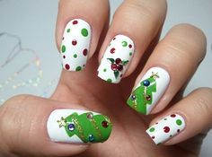 Newest Christmas Nail Ideas for Christmas Sweater Nail Art Designs Ideas; easy and cute Christmas nails; Christmas Tree Nail Art, Cute Christmas Nails, Holiday Nail Art, Xmas Nails, Christmas Trees, Green Christmas, Winter Christmas, Trendy Nails, Cute Nails
