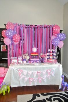 "Geschenk Geburt - Photo 10 of Dinosaurs / Birthday ""Alaina& Pink Dinosaur Birthday Pa. Doc Mcstuffins Birthday Party, Dinosaur Birthday Party, 3rd Birthday Parties, Baby Birthday, Birthday Ideas, Purple Birthday, Purple Party, Pink Purple, Fete Emma"