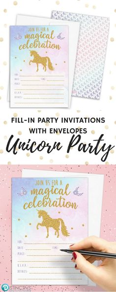 These Pastel Rainbow Unicorn Party Invitations with White Self-Sealing Envelopes will Set the Tone for your Magical Celebration. #unicornparty #unicorninvites #unicornpartyideas