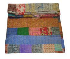 Indian Silk Sari Patchwork Kantha Quilt Queen Bedding Reversible Throw Bedspread #Handmade #ArtDecoStyle Patchwork Blanket, Kantha Quilt, Quilts, Vintage Bedspread, Indian Quilt, Queen Quilt, Bed Covers, Art Deco Fashion, Bed Spreads