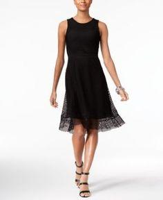 Alfani Petite Mesh Fit & Flare Dress, Only at Macy's - Black 12P