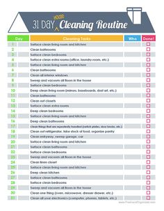 31 Day House Cleaning Routine or Schedule  by FreshandOrganized, $3.50