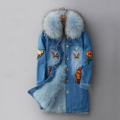 blue fox fur lined parka | Winter Jacket Women Long Fur Coat 2016 Ladies Real Fox Fur Lined Denim ...
