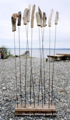 """OK, theses are roasting sticks with drift wood handles, but I like the idea of driftwood on flexible wires that """"drift"""" I the wind, and the sound that they would make, as a sculpture. Outdoor Life, Outdoor Fun, Outdoor Camping, Outdoor Living, Driftwood Projects, Driftwood Art, Beach Camping, Go Camping, Kids Wood"""