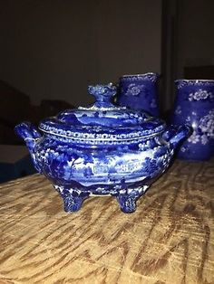 "Early 7 5/8"" Dark Blue Staffordshire Sauce Tureen"