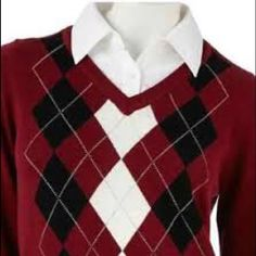 "Price Reduced! Croft& Barrow® Argyle Mock-Layer Sweater. Womens Size : Small. Built in ""faux"" collared white shirt. Polyester/ cotton/ spandex blend. Croft & Barrow Sweaters Crew & Scoop Necks"