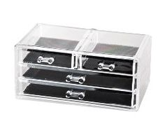 Drawer Manager Item #: 0456 A perfect accompaniment to the Morning Manager, this clever counter organizer has two small and two large drawers. Great for storing eye shadow, compacts, hair accessories and even jewelry. (9.5W x 4H x 5.25D)  Clever Container Company LLC - Shopping Cart