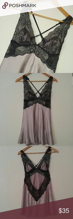 NWOT Victoria's Secret Black Lace Silky Chemise Perfect Bachelorette or Wedding Night Gift! Bachelorette gift I never wore (not my size)! Sultry black peek through lace straps with lined breast cups matching the taupe silky bottom. Criss cross adjustable bra straps. I have another pink one listed! Bundle them for a discount!   **Last photo to show fit. Chemise for sale is NOT YELLOW** Victoria's Secret Intimates & Sleepwear Chemises & Slips