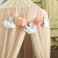 Your place to buy and sell all things handmade Swan Nursery Decor, Nursery Design, Nursery Themes, Baby Design, Nursery Room, Girl Nursery, Girl Room, Princess Nursery, Felt Garland