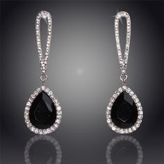 Hollow Crystal Round WaterDrop18K Silver Plated Austrian Crystal Drop Earrings For Women Fashion Jewelry Free Shipping Wholesale