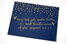 navy midnight dark blue envelope with gold yellow stars, dots, spots and birds with hand written calligraphy. paper goods, stationery, decorated letter, snail mail, pretty, elegant, wedding, classic