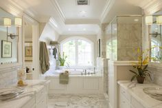 arched window; orientation of tub to shower; without slanted wall... arched ceiling over bath tub...